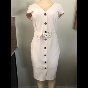 NEW Express Button Down Belted Dress Beige Size M